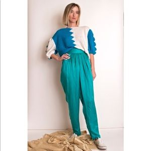 Vintage 80s teal blue high waist silk trouser pant